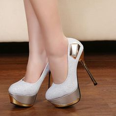 Beauty White Sequins Round Closed Toe Stiletto Super High Fashion Basic Pumps