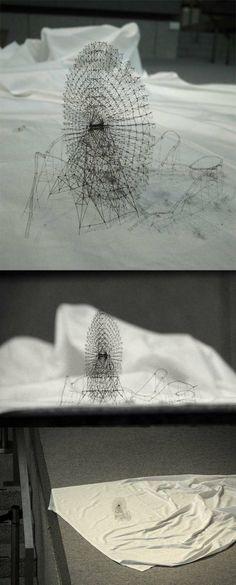 TAKAHIRO IWASAKI • Out of Disorder (Cosmo World) • 2011 • hair, dust , dimensions variable • http://www.arataniurano.com/artists/iwasaki_takahiro/index_en.html