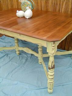 Table wood top, paint legs