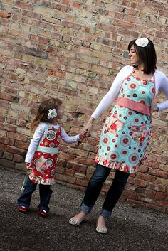 Cute little & big matching aprons.  Her new pattern is out this week!