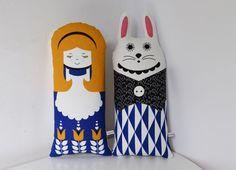 New Scandinavian inspired Alice in Wonderland Retro and rabbit doll (mini cushion) geo screen printed