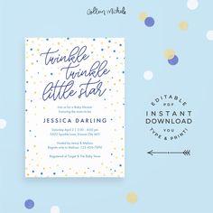 Twinkle Twinkle Little Star Invitation for Baby Shower