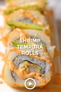 Cooked Sushi Recipes, Sushi Roll Recipes, Shrimp Recipes Easy, Cheesy Recipes, Cooking Recipes, Cooking Sushi, Sushi Food, Vegan Sushi, Chicken Recipes