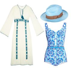 Style set for a fun day on a yacht #swimsuit #dolcegabbana #hat #kaftan #yacht #fashion