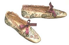 French Bronzed Kid Chameleon Shoes with grape vines, c. 1858-1865