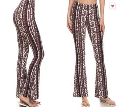 Paisley print Flared Bell Bottom Skinny Leggings Pants