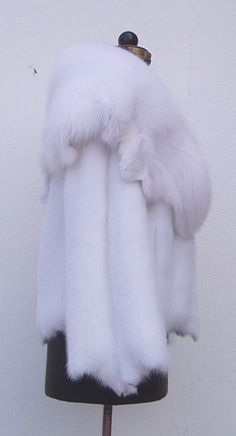 Pure White Mink Fur Jacket w SAGA Blue Shadow Fox collar - Size XS S M L XL XXL