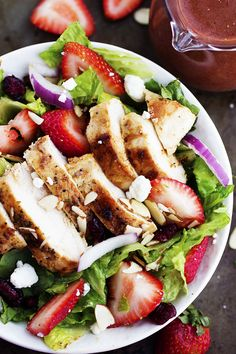 Strawberry Chicken Salad with Strawberry Balsamic Dressing From the Recipe Critic  - djc