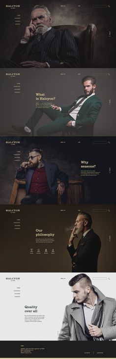 VISIT FOR MORE A brand identity, website design for Halcyon – a men fashion brand that specializes in suits for men. The goal is to create a modern, minimal look but also evoke the classy feel. Portfolio Website Design, Fashion Design Portfolio, Website Design Layout, Web Layout, Layout Design, Portfolio Ideas, Website Designs, Design Web, Modern Web Design