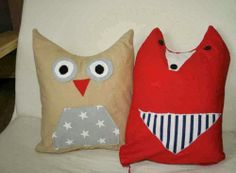 Pillows - owl and fox My Works, Owl, Pillows, Owls, Cushions, Pillow Forms, Cushion, Throw Pillows