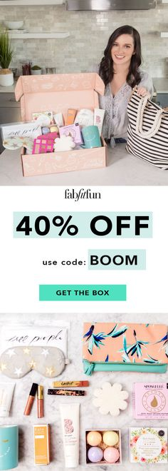 Use code BOOM to get 40% OFF your 1st FabFitFun box!