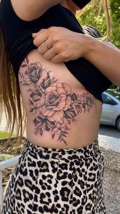 Inner Thigh Tattoos, Side Thigh Tattoos Women, Stomach Tattoos Women, Waist Tattoos, Dope Tattoos For Women, Floral Thigh Tattoos, Elbow Tattoos, Sleeve Tattoos For Women, Mom Tattoos