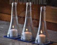Herzstück - Recycling Triplesec Flasche Kerze Hurrikan Kerze
