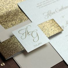 Glitter Wedding Invitation Gold and Blush by JenSimpsonDesign #glitterinvitation