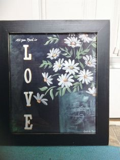 All you need is love sign framed daisy vintage by trimblecrafts, $34.99