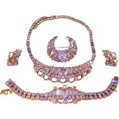 Vintage Kramer Fx Alexandrite Necklace Bracelet Brooch Earrings AD Set