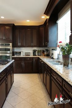 """""""Design is a plan for arranging elements in a way that best accomplishes a parti… – Gray Espresso Kitchen Cabinets Kitchen Dinning Room, Kitchen Room Design, Real Kitchen, Kitchen Cabinet Design, Updated Kitchen, Home Decor Kitchen, Kitchen Interior, Home Kitchens, Dark Cabinet Kitchen"""
