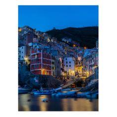 Riomaggiore at night Cinque Terre Liguria Italy Postcard - postcard post card postcards unique diy cyo customize personalize