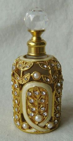 Stunning Perfume Bottle! Pewter / Gold With Pearls & Crystals | Collectibles, Vanity, Perfume & Shaving, Perfumes | eBay!