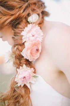 Flower adorned braid | Jenny Sun Photography | http://burnettsboards.com/2014/01/enchanted-garden-editorial/
