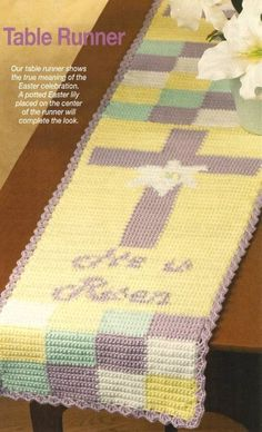 "Crochet PATTERN ONLY ""He Is Risen"" Table Runner Easter Jesus Cross This is beautiful! Wish I knew how to crochet!"