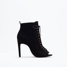 PEEP-TOE HIGH HEEL LEATHER BOOTIE-Boots and ankle boots-Shoes-WOMAN | ZARA United States