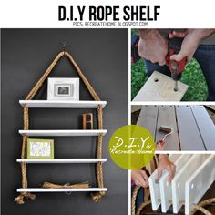 Rope Bookshelf | 25 Awesome DIY Ideas For Bookshelves.... some of these are pretty cool  ...