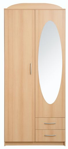 Wardrobe - Kaja 2D Impact Furniture Shop UK - Two door wardrobe with a pretty mirror