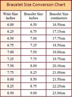 Bracelet Size Chart