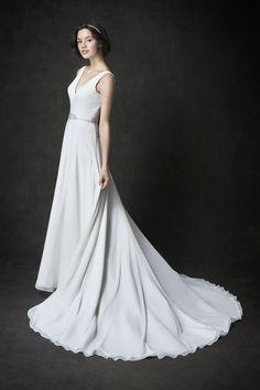 Gallery Style GA2276 | simply stunning chiffon over satin bridal gown with crystal detailing | romantic garden wedding | Kenneth Winston wedding dress