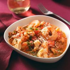 Shrimp & Tortellini in Tomato Cream for 2 Recipe from Taste of Home :: shared by Mary Kay LaBrie of Clermont, Florida Shrimp Dishes, Shrimp Recipes, Pasta Dishes, Fish Recipes, Pasta Recipes, Soup Recipes, New Recipes, Dinner Recipes, Cooking Recipes