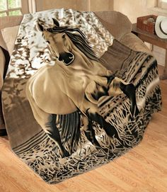 "Inject a little country flair into your living room or family room with this horse-print throw. Made of cuddly fleece, it s lovely enough to drape over your couch when not in use. Polyester. Machine wash. Imported. 63"" x 73""."