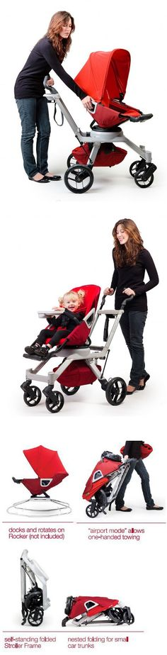 Orbit Baby G2 Stroller is a baby seat and stroller in one that lets you rotate the seat 360 degrees as well as recline.