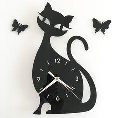 Gato negro reloj de Pared Espejo personalidad originalidad wag-on-the-wall negro y blanco(China (Mainland))