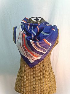 Vintage Scarf Square Navy Orange and White by MyVintageStyles, $8.00