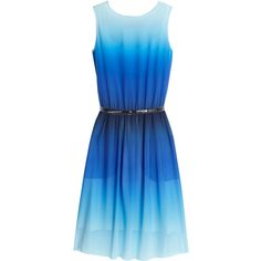 Paul Smith Black Ombre Print Silk Pleated Dress With Belt ($584) ❤ liked on Polyvore featuring dresses, vestidos, blue, short dresses, silk dress, blue cami, blue ombre dress, short blue dress and blue dress