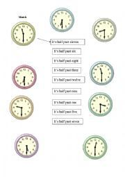 English worksheet: Match the time (half past)