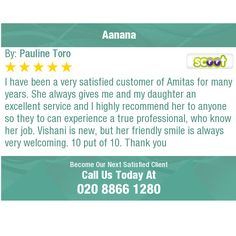 I have been a very satisfied customer of Amitas for many years. She always gives me and my...