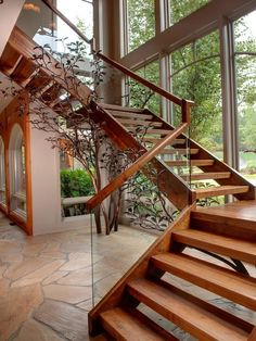 Exterior Designs,Elegant Laminated Wooden Staircase Design Ideas With Glass Railing And Wooden Top Rail Inspirations,Inspiring Outdoor Wood Stairs Design Ideas For Your Homes Wooden Staircase Design, Wood Railings For Stairs, Rustic Staircase, Stair Railing Design, Open Staircase, Floating Staircase, Wooden Stairs, Staircase Ideas, Wood Handrail