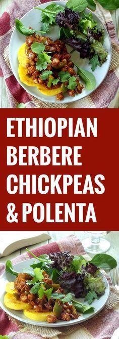 Ethiopian Berbere Spiced Chickpeas Over Polenta