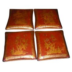 China  End of 19th century  Four end of 19th century Chinese leather pillows, engraved, painted and lacquered in red. Stuffed with horse-hair. Four different decorative motifs.  SOLD - sadness.