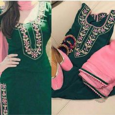 Machine Embroidered Pure Cotton Suit in Green Color With Pink Contrast, With Pure Chinon Chiffon