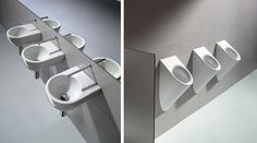 GSI ceramic | The handwasher 38, clearly aimed at public facilities, is functional and is also suitable for multiple fittings - In line with the Community collection for public facilities, the urinal completes the range. This is a product with a very clean and linear design which is also fitted with a lid. #GSIceramica #Sanitaryware #Washbasins #Bathroom