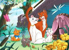 Wallpaper of The Aristocats for fans of The Aristocats. The Aristocats Disney Amor, Art Disney, Disney Kunst, Disney Love, Disney Pixar, Disney Characters, Marie Aristocats, Duchess Aristocats, Aristocats Party