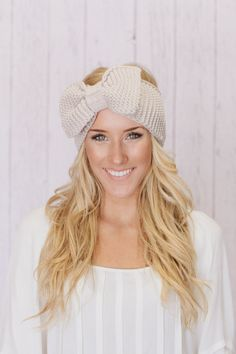 Knitted Bow Headband LARGE Bow Ear Warmer Vanilla by ThreeBirdNest, $38.00