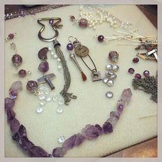 Progress...maybe... #jewelrymaking #foundobjects #upcycling #jewelry #mixedmedia #beads #amethyst #violet #tasselnecklace #necklace #assemblage