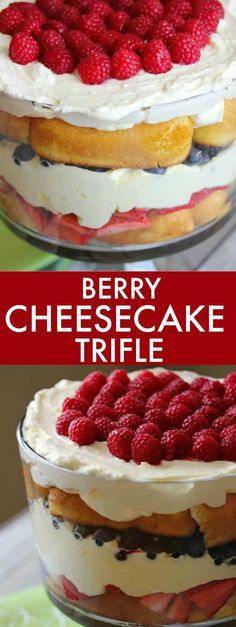 Berry Cheesecake Trifle - Made with Twinkies, lemon and vanilla cheesecake filling and loads of fresh berries!