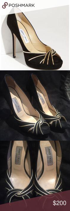Jimmy Choo Kilda Platform Black Suede Peep Toe Size 39.5. (Size 8.5) No scuffs. Bottom of shoe a little worn, see pics. 4.5 inch heel. Peep-Toe, platform. Jimmy Choo Shoes Heels