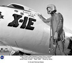 """#TBT Legendary test pilot Joe Walker poses next to """"Little Joe"""" the X-1E #NACA100"""