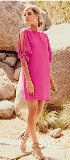 Bright Pink Cold Shoulder Shift Dress
